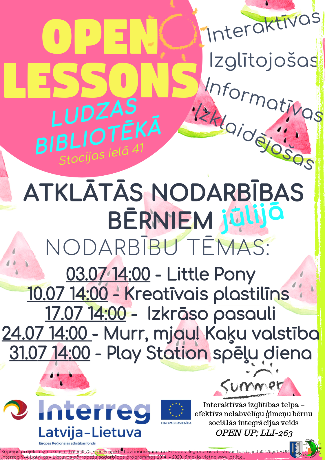 Open lessons July