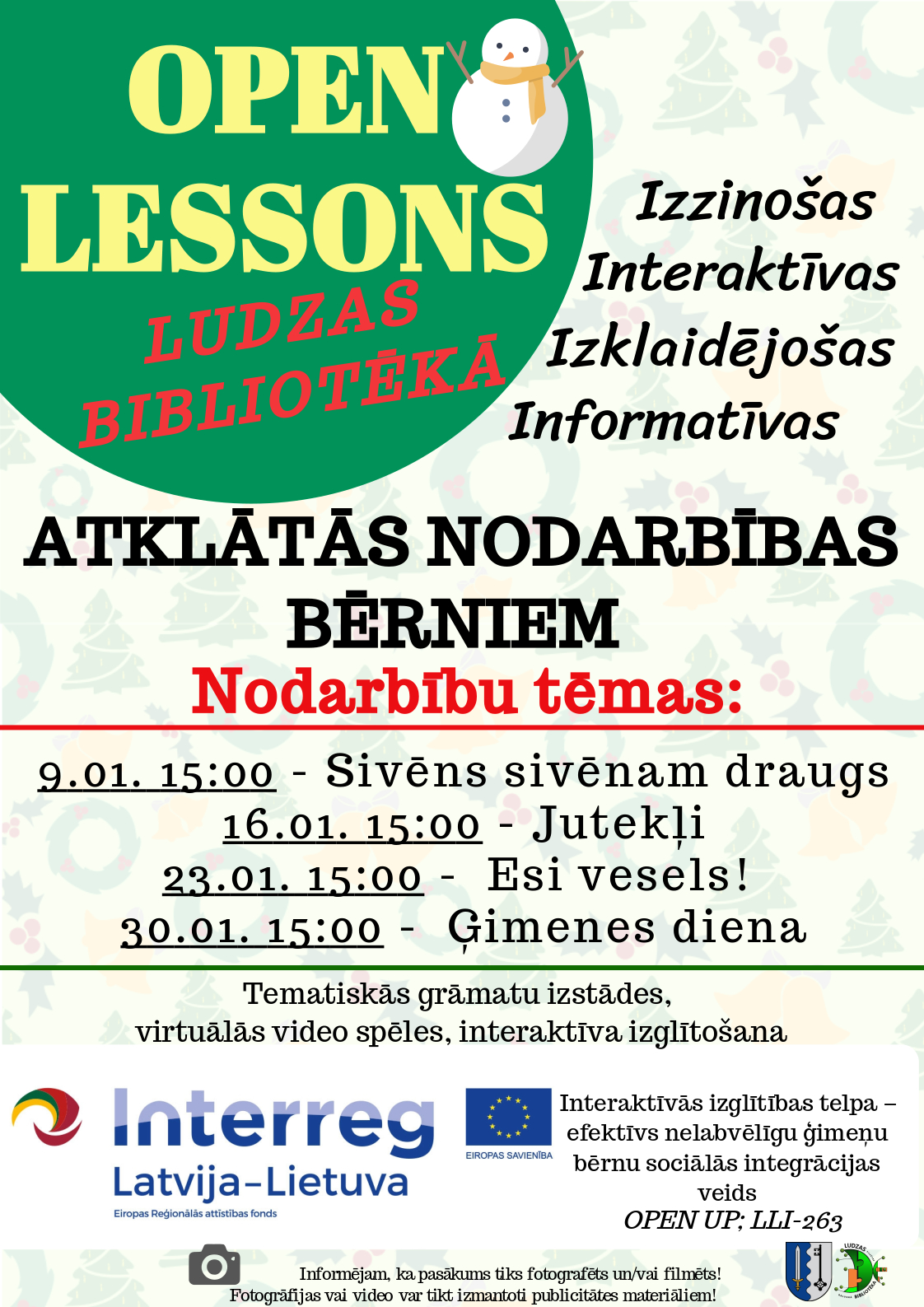 Open lessons January